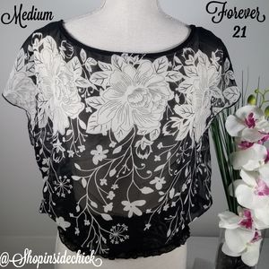 🍓$7 Forever 21 Floral Sheer Blouson Top Medium